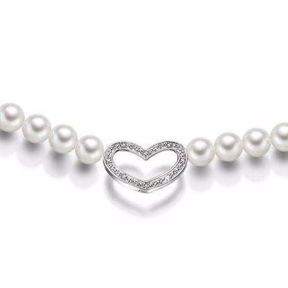 Perlekjede med hjerte og med diamant 0,02 ct-945760