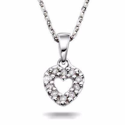 Diamantsmykke PRINSESSE i hvitt gull, 0.06 ct-20607