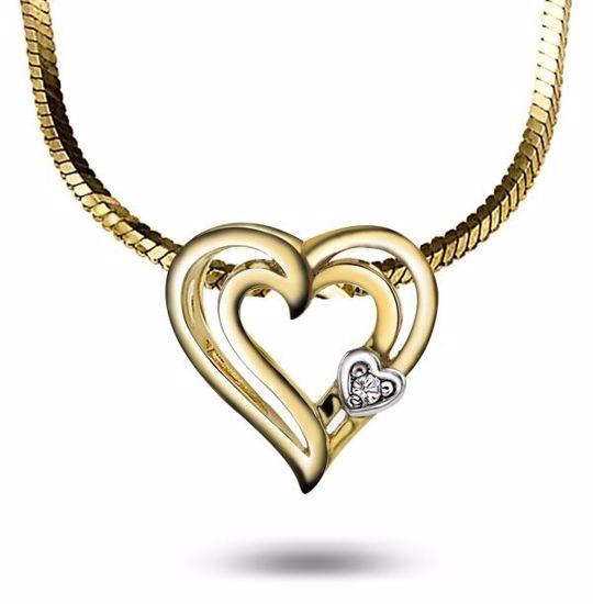 Diamanthjerte i gull med 0,005 ct W-P - 53376