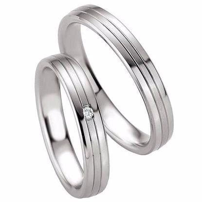 Samboerringer i sølv, 4 mm. SØLV MED DIAMANT - 4808081