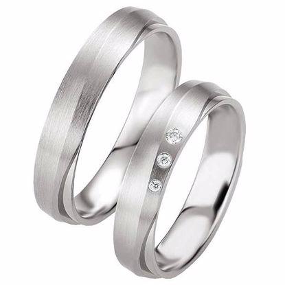 Samboerringer i sølv, 4.5 mm. SØLV MED DIAMANT - 4808079
