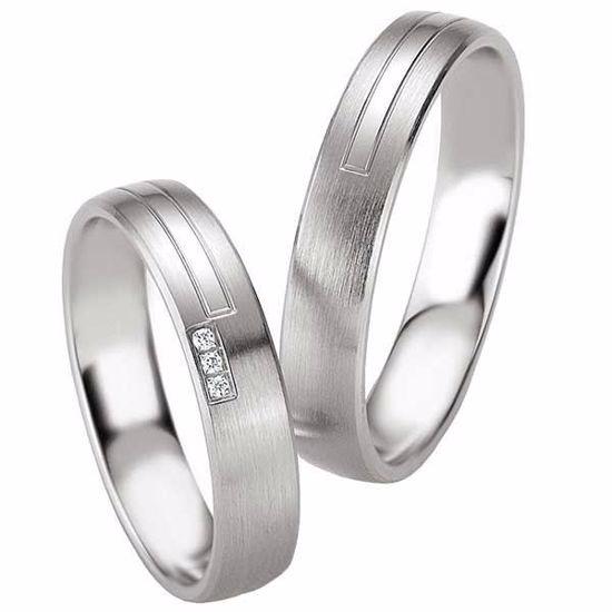 Samboerringer i sølv, 4.5 mm. SØLV MED DIAMANT - 4808087
