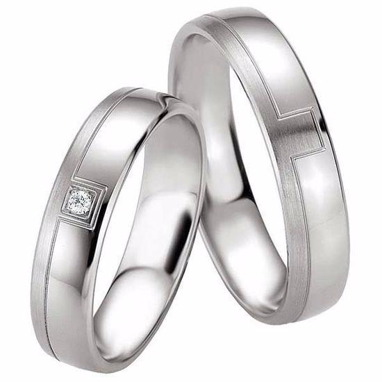 Samboerringer i sølv, 5 mm. SØLV MED DIAMANT - 4808089