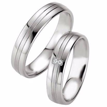 Samboerringer i sølv, 5 mm. SØLV MED DIAMANT - 4808069