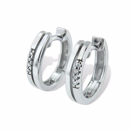 Diamant øredobber i hvitt gull 14kt- 55294399