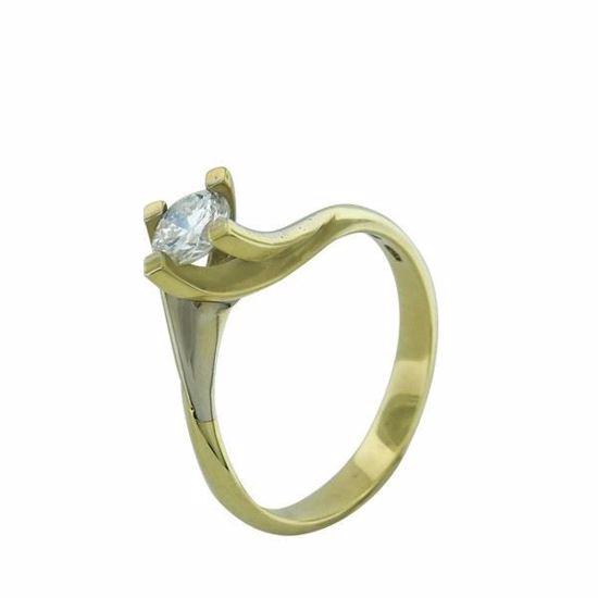Diamantring i gult gull med 0,42 ct TW-Si -170615