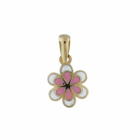 """Smykke """"Blomst"""" i emaljert gull 14 kt -348914"""