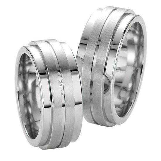 Samboerringer i sølv, 9 mm. SØLV MED DIAMANT - 4808039