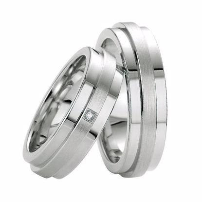 Samboerringer i sølv, 6.5 mm. SØLV MED DIAMANT - 4808047