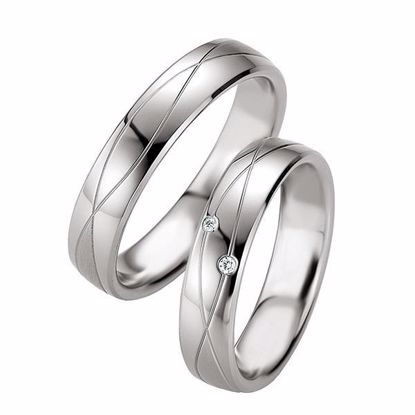 Samboerringer i sølv, 5 mm. SØLV MED DIAMANT - 4808075