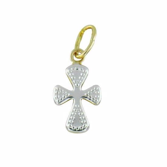 Kors i hvitt & gult gull 14 kt - 48914