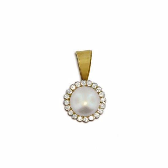 Smykke med perle & zirkonia i gult gull - 79014