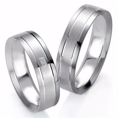 Forlovelsesringer i sølv, 6 mm. SØLV MED DIAMANT - 4808205