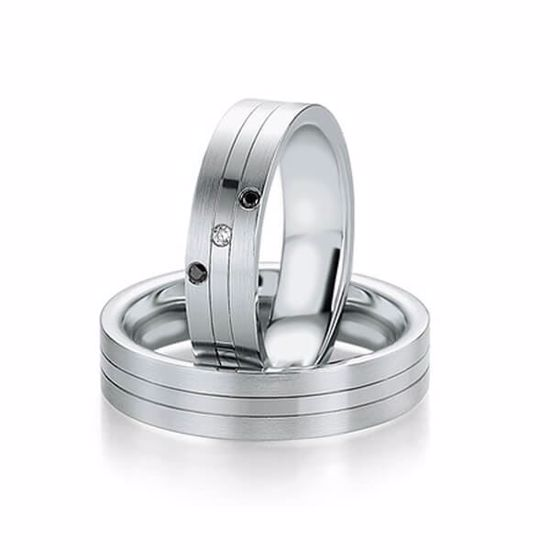 Gifteringer i hvitt gull 9 kt, 5.5 mm. B&W BLACK DIAMONDS - 14806413