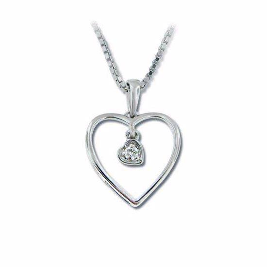 Diamanthjerte i hvitt gull med 0,03 ct W-Si-30617