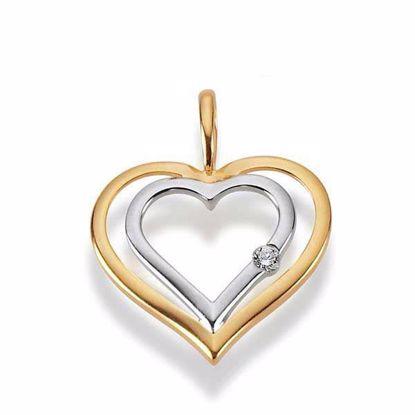 Diamanthjerte i gull med 0,02 ct W-P1- 310314