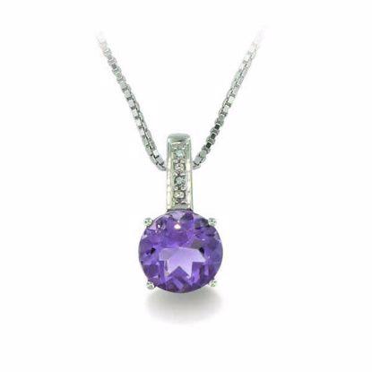 Diamantsmykke med 0,010 ct W-P1 & ametyst-320296