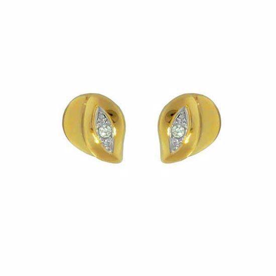 Gultgulls øredobber med zirkonia -99014-1