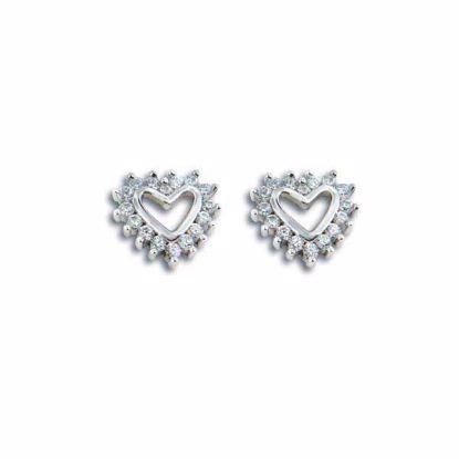 """Sølv øredobber """"hjerter"""" med zirkonia -210335"""