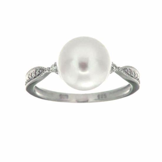 Perle diamantring i hvitt gull med 0,05 ct W-Si-520988