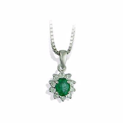 Diamantsmykke med 0,14 ct TW-SI og smaragd-27059