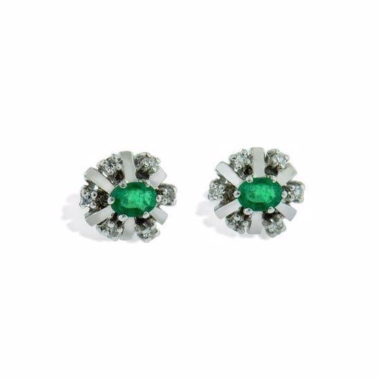 Diamant øredobber i gull 14kt med 0,12 ct W-SI og smaragd-27060