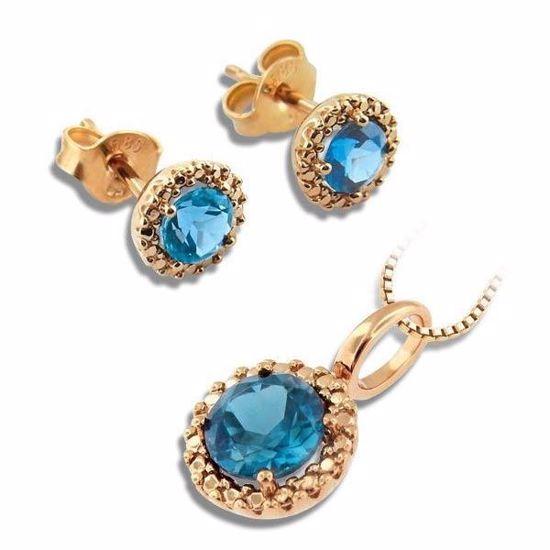 Smykkesett i rosé gull med blå topas - 350478/320507