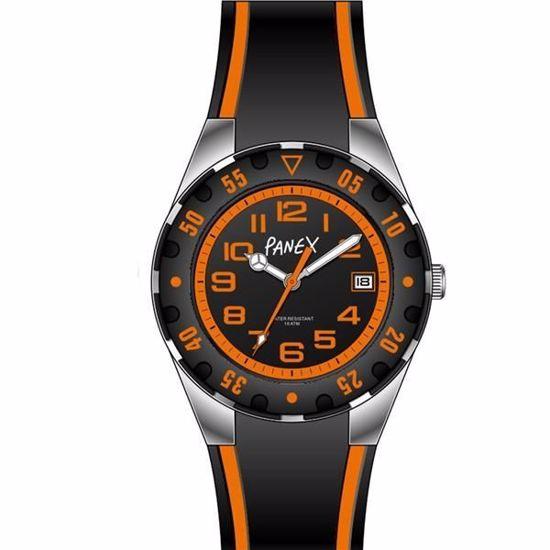 Panex Klokke Stål/Silikon sort/orange - 977441