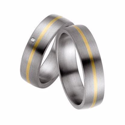 Forlovelsesringer i titan & gult gull, 6 mm. RAUSCHMAYER - 1150581