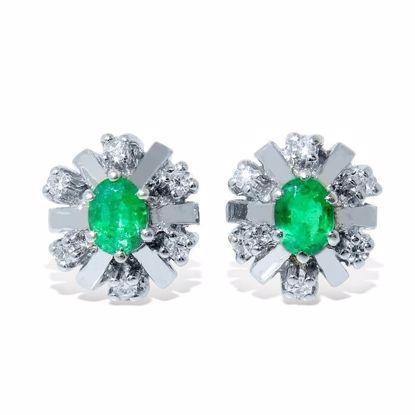 Diamant øredobber med 0,12 ct W-SI og smaragd -760055