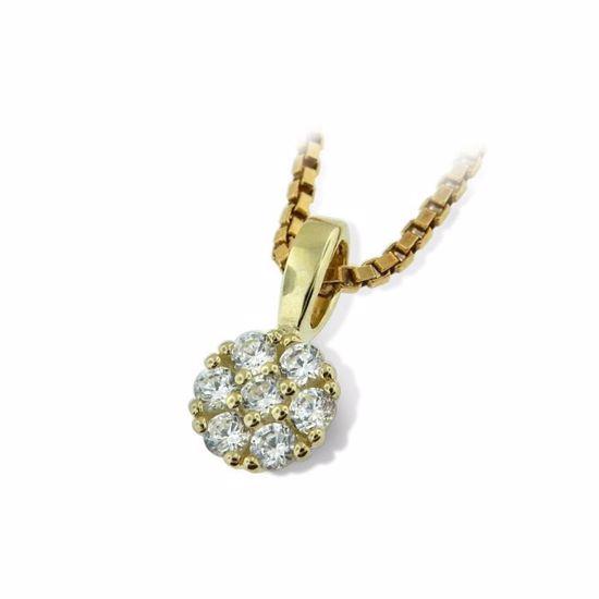 Smykke i gult gull med zirkonia-292215