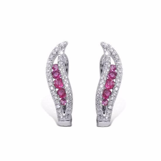 Diamant øredobber i gull 18 kt med 0,21 ct W-SI og rubiner-750021