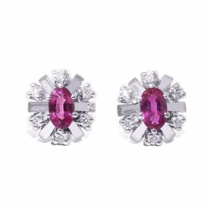 Diamant øredobber i gull 14kt med 0,12 ct W-SI og rubin-27012