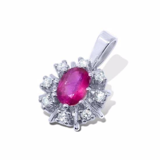 Diamantsmykke med 0,12 ct W-Si og rubin-26012