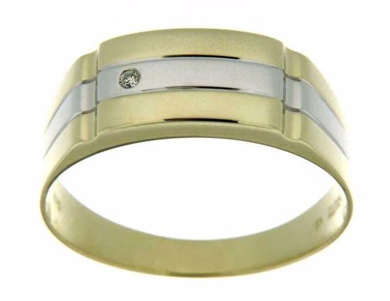 Diamantring i gult & hvitt gull med 0,015 ct W-Si -810655