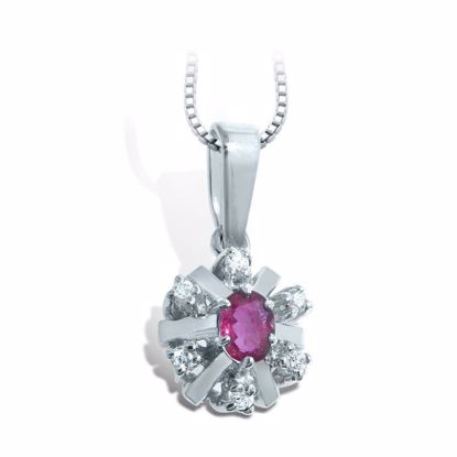 Diamantsmykke med 0,06ct  W-Si og rubin-26006