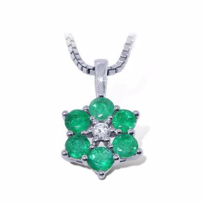 diamantsmykke med smaragd