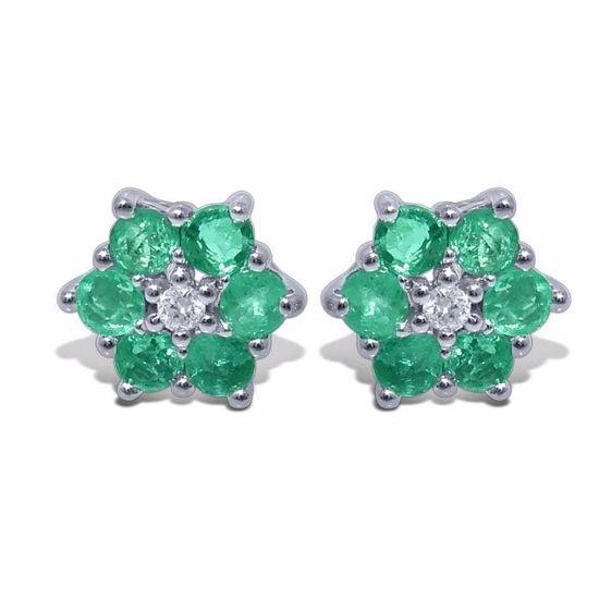 Diamant øredobber i gull med 0,02 ct W-P1 & smaragd-3451591
