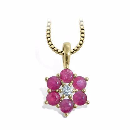diamantsmykke med rubin