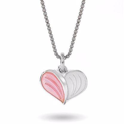 Smykke Rosa Hvitt hjerte i sølv