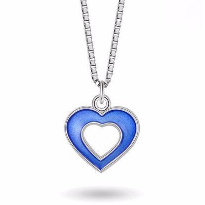 Smykke Blått hjerte i sølv, til barn