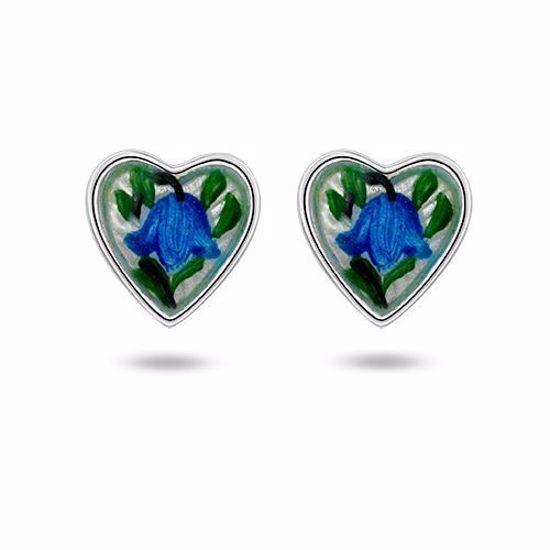 Sølv øredobber Blåklokke hjerter