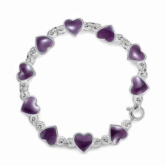 Armbånd i sølv - Lilla hjerter