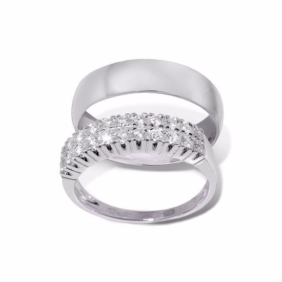Giftering & diamantring hvitt gull 14 kt, 4.2 mm - 1350-3301038