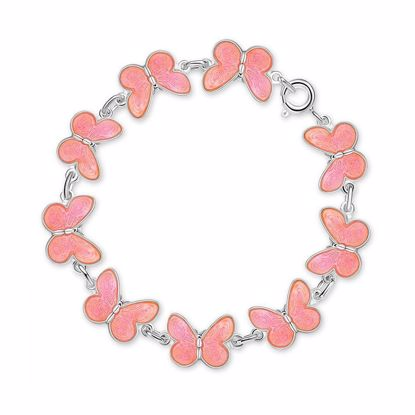 Armbånd i sølv - Rosa sommerfugler