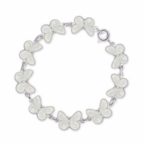 Armbånd i sølv - Hvite sommerfugler