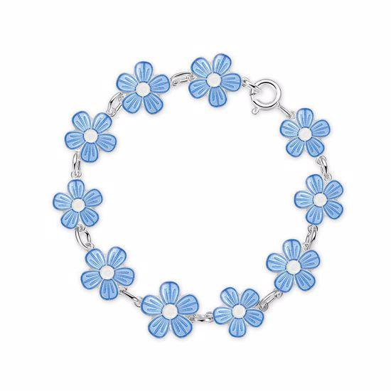 Armbånd i sølv - Blå blomster