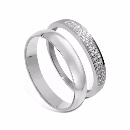 Giftering & diamantring hvitt gull 14 kt, 4 mm - 1340-3307008