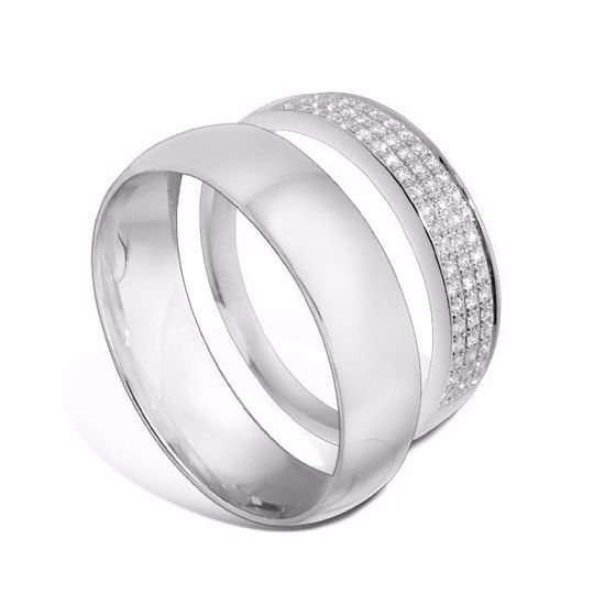 Giftering & diamantring hvitt gull 14 kt, 5 mm - 1350-3307016