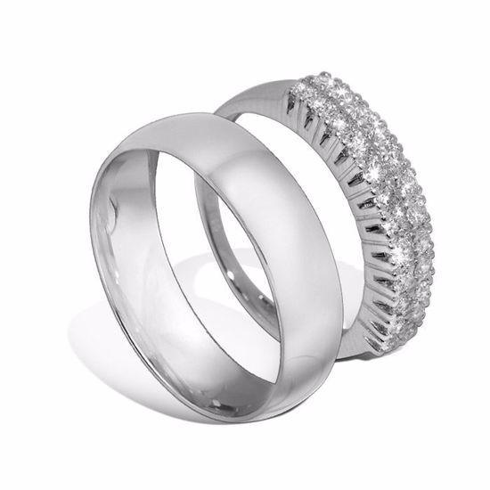 Giftering & diamantring hvitt gull 14 kt, 5 mm - 1350-3307052